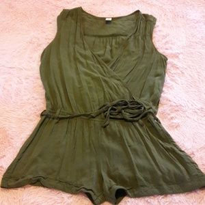Old Navy army green romper with sexy open chest
